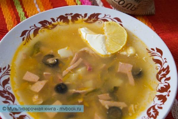 Первое блюдо: Суп солянка в мультиварке