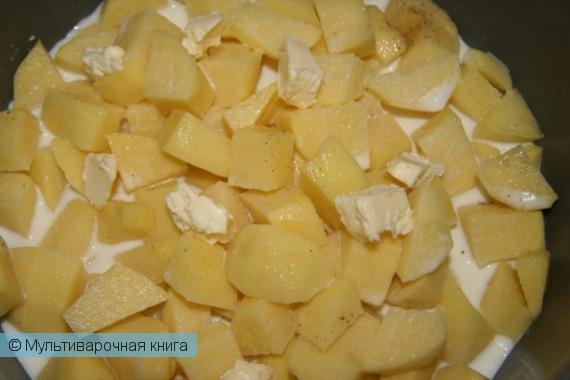 Вторые блюда: Картофель, тушёный в молоке
