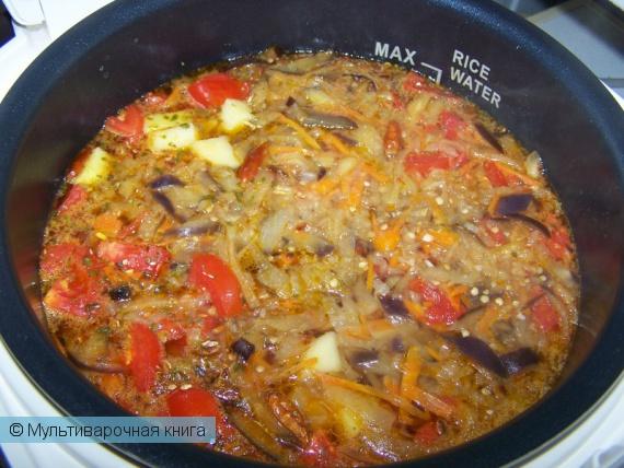 Первое блюдо: Суп с баклажанами (подходит для вегетарианцев!)