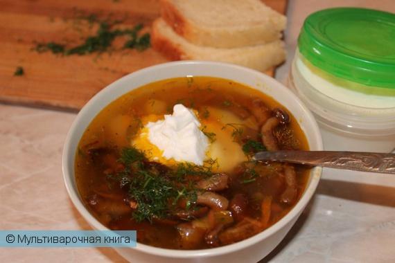 Первое блюдо: Сытный наваристый грибной суп с опятами в мультиварке