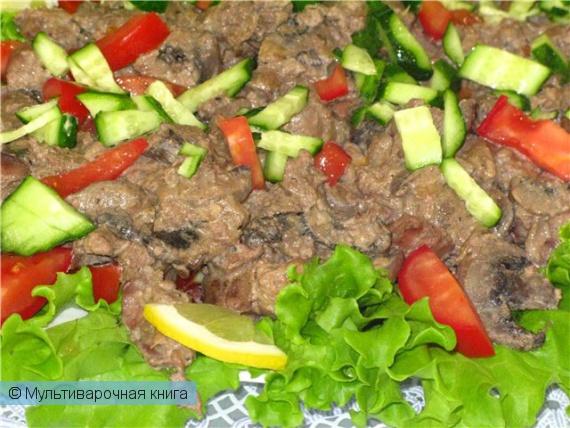 Салаты: Тёплый салат с печенью курицы и ароматными шампиньонами
