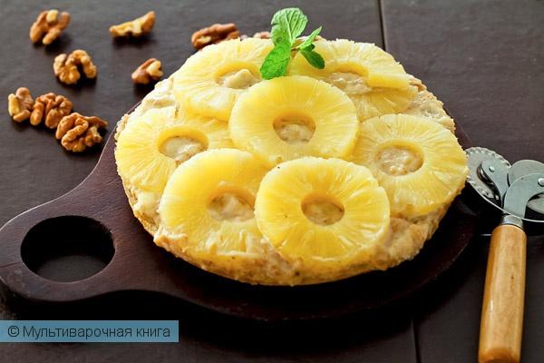 Выпечка: Сладкая пицца с ананасами в мультиварке