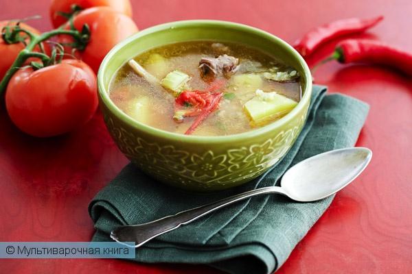 Первое блюдо: Суп из бараньих ребрышек с чечевицей в мультиварке