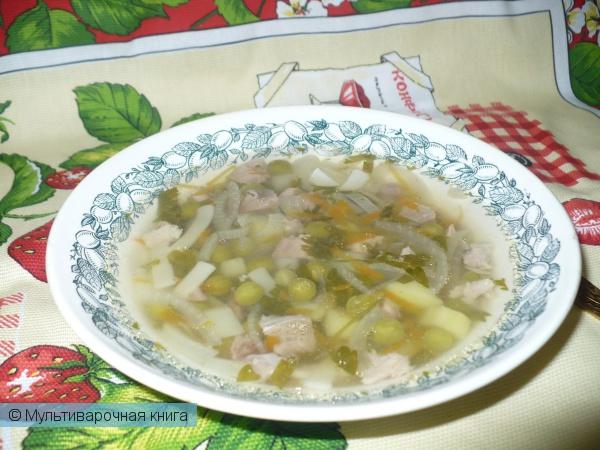 Первое блюдо: Суп с лапшой на мясном бульоне
