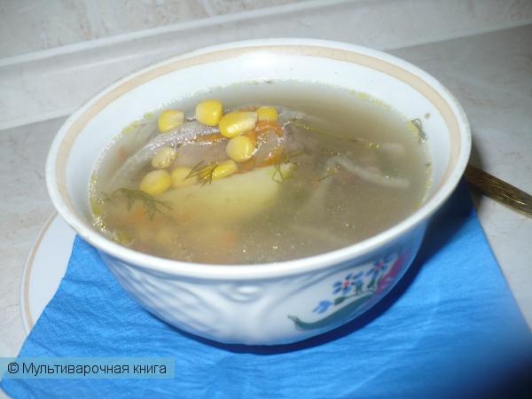 Первое блюдо: Куриный суп с кукурузой