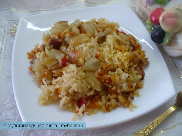 Каши: Рисовая каша с колбасой и овощами в мультиварке