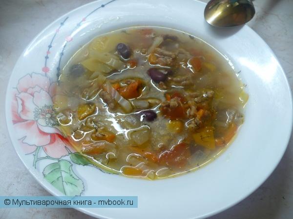 Суп с фаршем, капустой и фасолью в мультиварке