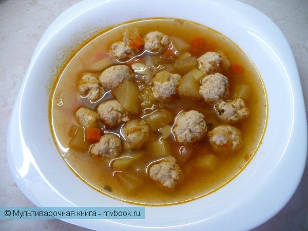 Густой суп с кабачками и фрикадельками в мультиварке