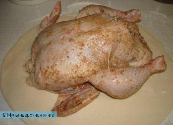 Вторые блюда: Курица, фаршированая гречкой, запеченая в тесте