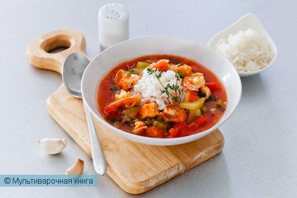 Первое блюдо: Гамбо с рисом и морепродуктами в мультиварке