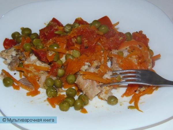 Вторые блюда: Рыба под овощной шубой