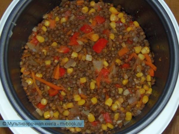 Вторые блюда: Чечевица с овощами