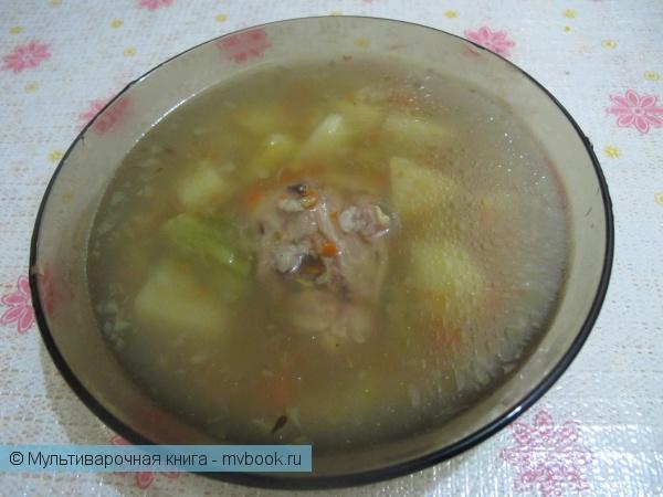 Первое блюдо: Куриный суп с рисом и овощами