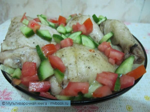 Вторые блюда: Куриные окорочка в маринаде из оливкового масла и специй на пару