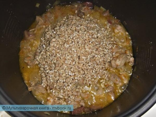 Вторые блюда: Перловая каша с мясом и грибами