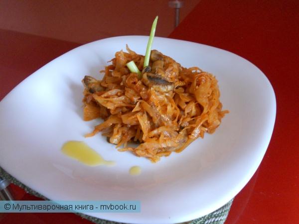 Вторые блюда: Тушёная капуста с грибами в мультиварке  Moulinex Cook4Me