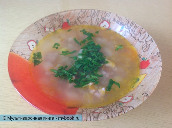Первое блюдо: Гречневый суп с индейкой