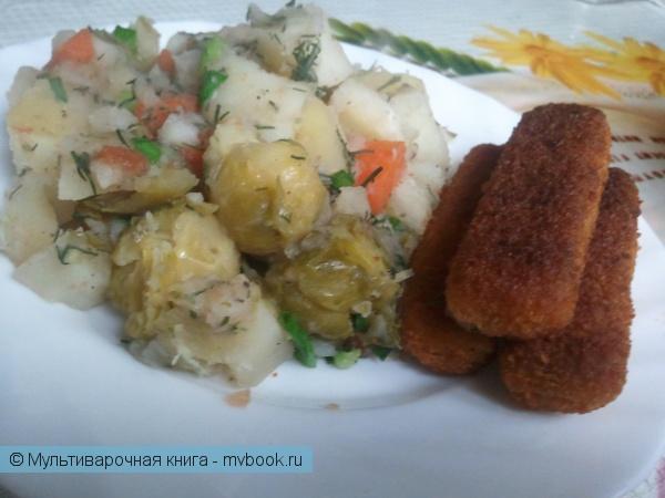 Вторые блюда: Тушеный картофель с брюссельской капустой