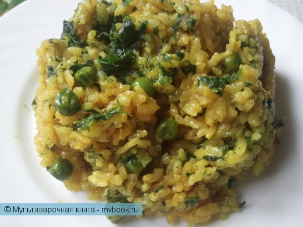 Вторые блюда: Рис кари с горошком и шпинатом