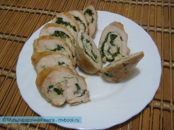 Вторые блюда: Шпинатные рулетики из куриного филе
