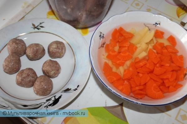 Первое блюдо: Быстрый супчик с фрикадельками