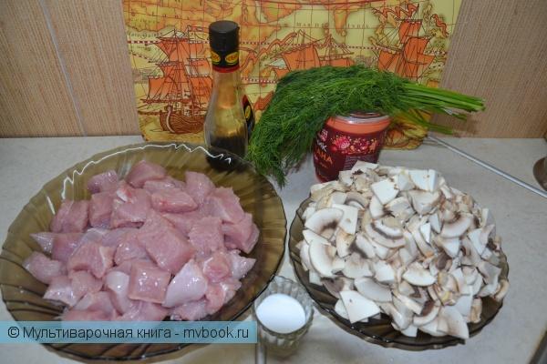 Вторые блюда: Нежная индейка с грибами