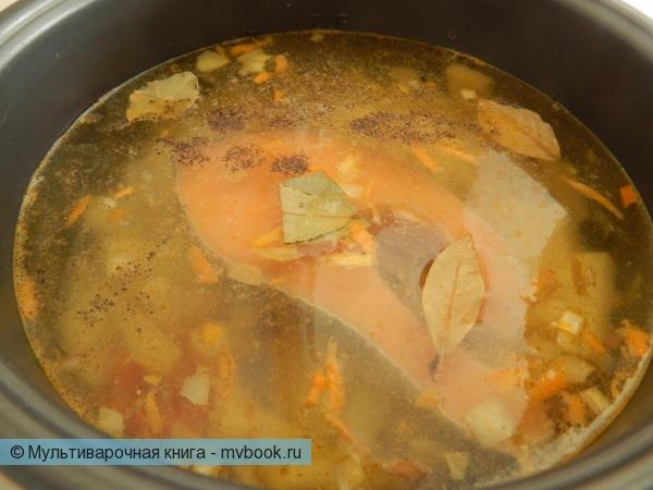 Первое блюдо: Уха из лосося