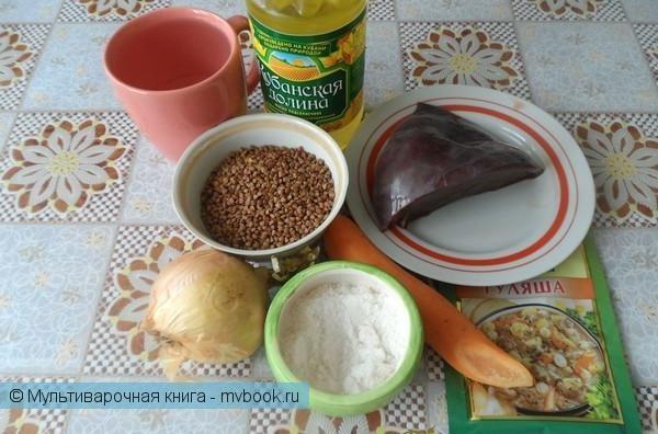 Вторые блюда: Каша гречаная с печенью