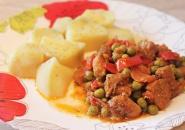 """Свинина """"Весенняя"""" с болгарским перцем и зеленым горошком"""